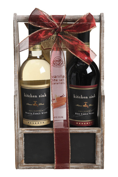 Wine Gift Basket Kitchen Sink Red And White Reserve Price